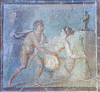 Satyr surprising a maiden, a Roman erotic fresco painting from Pompeii, 50-79 AD , inv no 27693 , Secret Museum or Secret Cabinet, Naples National Archaeological Museum