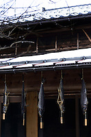 Salt salmon hanging from the eaves of a house. Murakami-city, Niigata Prefecture, Japan, February 4, 2013. The snowy city in Northern Japan is famous for hot-springs, tea and salt salmon.