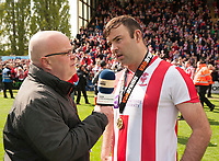 Lincoln City's Matt Rhead is interviewed for BBC Radio Lincolnshire by Michael Hortin<br /> <br /> Photographer Andrew Vaughan/CameraSport<br /> <br /> Vanarama National League - Lincoln City v Macclesfield Town - Saturday 22nd April 2017 - Sincil Bank - Lincoln<br /> <br /> World Copyright &copy; 2017 CameraSport. All rights reserved. 43 Linden Ave. Countesthorpe. Leicester. England. LE8 5PG - Tel: +44 (0) 116 277 4147 - admin@camerasport.com - www.camerasport.com