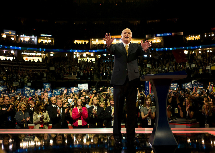 MINNEAPOLIS/ST. PAUL, MN: Sept. 04 --  John McCain accepts the Republican Party's nomination for president in a speech before the Republican National Convention on Sept. 4, 2008 at the Xcel Energy Center in St. Paul, Minn. (Scott J. Ferrell / Congressional Quarterly)