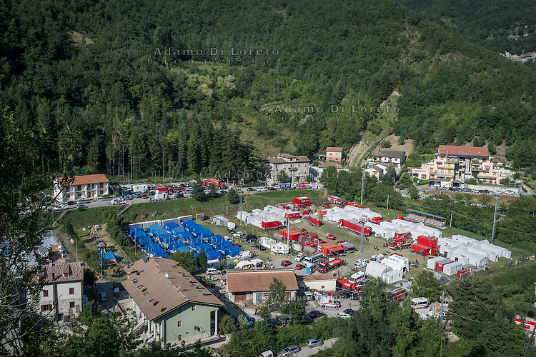Field tents of Arquata del Tronto (AP) in Borgo Fraction during the earthquake on August 26, 2016, in Marche, Italy. Photo by Adam Di Loreto -- [ITA] Campo Base di Arquata del Tronto (AP) Frazione di Borgo durante il  Terremoto on August 26, 2016, in Marche, Italy. Photo by Adamo Di Loreto