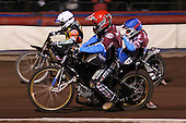 Heat 14: Jonas Davidsson (red), Joe Screen (white) and Paul Hurry (blue) - Lakeside Hammers vs Wolverhampton Wolves, Elite Shield Speedway at the Arena Essex Raceway, Purfleet - 26/03/10 - MANDATORY CREDIT: Rob Newell/TGSPHOTO - Self billing applies where appropriate - 0845 094 6026 - contact@tgsphoto.co.uk - NO UNPAID USE.