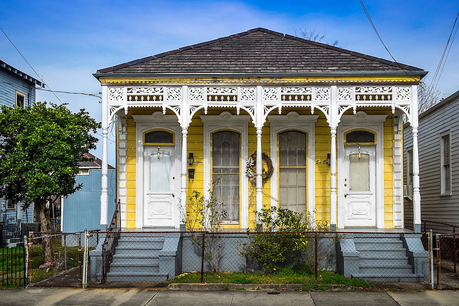 NEW ORLEANS - CIRCA FEBRUARY 2014: View of a typical facade in Algiers Point, a popular community within the city of New Orleans in Louisiana.