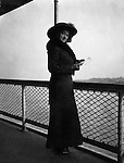 Washington DC:  Sarah Stewart standing next to the ship's railing while taking a cruise on the Potomac River - 1912. Brady and Sarah  Stewart site seeing in Washington DC while on their honeymoon.