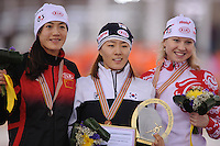 SPEEDSKATING: SOCHI: Adler Arena, 24-03-2013, Essent ISU World Championship Single Distances, Day 4, podium 500m Ladies, Beixing Wang (CHN), Sang-Hwa Lee (KOR), Olga Fatkulina (RUS), © Martin de Jong