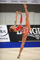 September 21, 2007; Patras, Greece;  Inna Zhukova of Belarus balances with clubs (trunk in horizontal) during the All-Around final at 2007 World Championships Patras.  Inna placed 4th in the AA to qualify Belarus for 1st of 2 positions in the individual All-Around competition at Beijing 2008 and the possibility of making her 2nd Olympic Games.  Photo by Tom Theobald. .