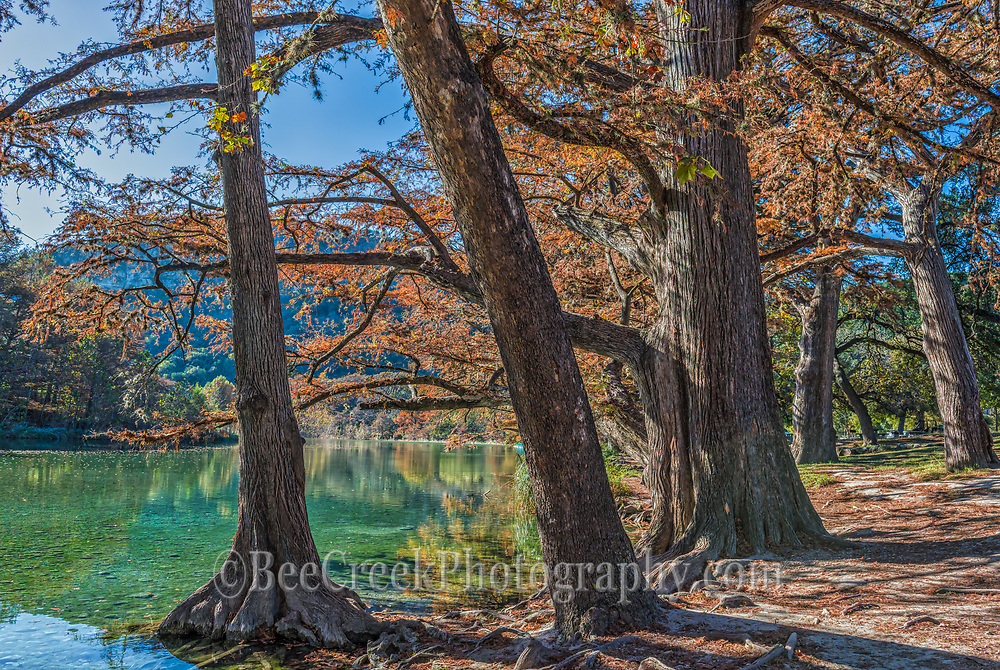 Garner State Park has some wonderful hiking trails along the Frio River as the water is pretty cool on this fall day we choose to just take in the views instead.  You can see the clear blue waters as the cypress trees reflect their fall foliage in the waters below.