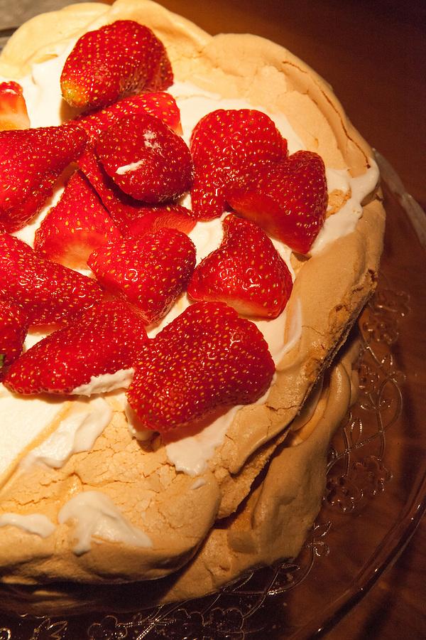 Strawberry pavlova (layers of strawberries, whipped cream and meringue) for dessert, Prague, Czech Republic, Europe