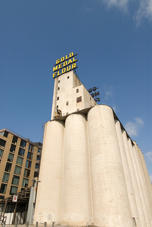 Minnesota, Twin Cities, Minneapolis-Saint Paul: Mill City Museum, showing flour milling history in Minneapolis.  Grain elevators are part of the museum..Photo mnqual254-74898..Photo copyright Lee Foster, www.fostertravel.com, 510-549-2202, lee@fostertravel.com.