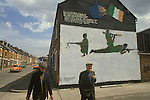 Ireland The Troubles. Belfast 1980s. IRA wall painting mural. It reads:-.I lie at night and try to think why our lads in jail are prepared to die. The British government sit back and laugh but the people know that they are daft. Four of our comrades have passed away is there call for more to die. O British government use your sights and give our lads their just rights. Written and painted by Beechmount Youth Against H Block. This is a referance to IRA prisioners on hunger srike in the Long Kesh internment camp.