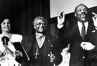 Dianne Feinstein, Mayor of San Francisco, Archbishop Desmond Tutu, from South Africa, and Speaker of the California State Assembly Willie Brown share a light moment in San Francisco in 1985. Feinstein went on to be elected United States Senator in 1992, Tutu won the Nobel Peace Prize in 1984, and Willie Brown was elected Mayor of San Francisco in 1996. .(1985 photo by Ron Riesterer)