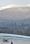 18 December 2010: Helen Upperton slides through curve 14 with Whiteface Mountain in the background, finishing in 3rd place for Canada at the Viessmann FIBT World Cup Bobsled Championships on Mount Van Hoevenberg in Lake Placid, New York, USA. Mandatory Credit: Ed Wolfstein Photo