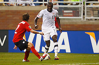 7 June 2011: USA Men's National Team forward Jozy Altidore (17) dribbles the ball at Canada midfielder Nikolas Ledgerwood (2) during the CONCACAF soccer match between USA MNT and Canada MNT at Ford Field Detroit, Michigan. USA won 2-0.