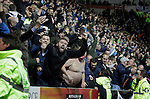 Rotherham 1 Sheffield Wednesday 2, 23/10/2015. New York Stadium, Championship. Second-half goals from Lucas Joao and Fernando Forestieri gave Sheffield Wednesday a derby victory at Rotherham. Sheffield Wednesday fans celebrate. Photo by Paul Thompson.