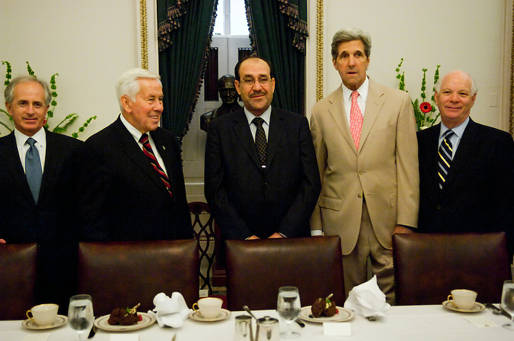 WASHINGTON, DC - July 23: Iraqi Prime Minister Nuri al-Maliki, middle, during a photo op with Senate Foreign Relations Committee members as their meeting began. Left to right: Sen. Bob Corker, R-Tenn., ranking member Richard G. Lugar, R-Ind., al-Maliki, Chairman John Kerry, D-Mass., and Sen. Benjamin L. Cardin, D-Md. (Photo by Scott J. Ferrell/Congressional Quarterly)