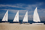 Boats line the beach of Nikoi, a private resort island near Bintan, Indonesia, on Monday, April 19, 2010.