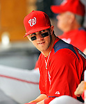 5 March 2011: Washington Nationals' outfielder Bryce Harper sits in the dugout prior to a Spring Training game against the New York Yankees at George M. Steinbrenner Field in Tampa, Florida. The Nationals defeated the Yankees 10-8 in Grapefruit League action. Mandatory Credit: Ed Wolfstein Photo