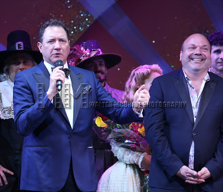 Kevin McCollum and Casey Nicholaw during the Broadway Opening Night Curtain Call for 'Something Rotten' at the St. James Theatre on April 22, 2015 in New York City.