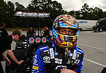 Jan. 17, 2012; Jupiter, FL, USA: NHRA top fuel dragster driver Antron Brown during testing at the PRO Winter Warmup at Palm Beach International Raceway. Mandatory Credit: Mark J. Rebilas-