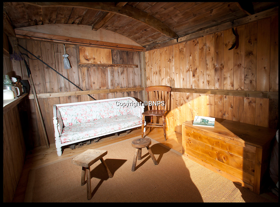BNPS.co.uk (01202 558833)<br /> Pic: LauraJones/BNPS<br /> <br /> The shepherd hut's interior.<br /> <br /> A shepherd's hut used by the real-life Gabriel Oak, the main love interest in the new movie Far From the Madding Crowd, has been saved from ruin after being found abandoned in a hedgerow.<br /> <br /> The cabin on wheels belonged to Waterston Manor, the inspiration for fictional Weatherbury Farm which Carey Mulligan's character Bathsheba Everdene owns in the film adaptation of the Thomas Hardy classic novel.<br /> <br /> It has been returned to its former glory by historian David Morris.