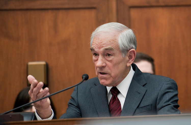 "UNITED STATES - FEBRUARY 29:  Rep. Ron Paul, R-Tx., addresses Federal Reserve Board Chairman Ben Bernanke at a House Financial Services Committee committee hearing on ""Monetary Policy and the State of the Economy."" (Photo By Chris Maddaloni/CQ Roll Call)"