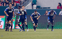 San Jose Earthquakes midfielder Bobby Convey (11) celebrates his goal with teammates. The LA Galaxy and the San Jose Earthquakes played to a 2-2 draw at Home Depot Center stadium in Carson, California on Thursday July 22, 2010.