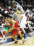 "Illinois State's Anthony Cousin (5) is fouled by Mississippi's Terrance Henry (1) in a National Invitational Tournament game at the C.M. ""Tad"" Smith Coliseum in Oxford, Miss. on Wednesday, March 14, 2012. (AP Photo/Oxford Eagle, Bruce Newman)"