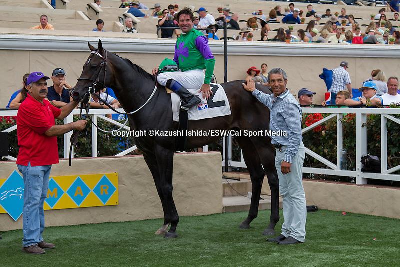AUG 13,2014:Merit Man,ridden by Kent Desormeaux,wins the Green Flash Handicap at Del Mar in Del Mar,CA. Kazushi Ishida/ESW/CSM