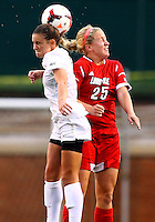 WINSTON-SALEM, NORTH CAROLINA - September 01, 2013:<br /> Caroline Kimble (25) of Louisville University up for a header against Ally Berry (8) of Wake Forest University during a match at the Wake Forest Invitational tournament at Wake Forest University on September 01. The match was abandoned early in the second half due to severe weather with Wake leading 1-0.