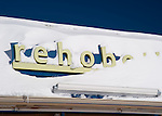 "Need I say more?  Snow drifts across the ""Rehoboth"" sign (part of a store sign in Rehoboth Beach, Delaware, USA) the morning after the blizzard of February 2010."