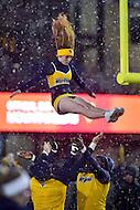Morgantown, WV - NOV 19, 2016: West Virginia Mountaineers cheerleaders perform during game between West Virginia and Oklahoma at Mountaineer Field at Milan Puskar Stadium Morgantown, West Virginia. (Photo by Phil Peters/Media Images International)