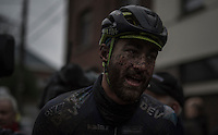 a muddy race winner Guillaume van Keirsbulck (BEL/Wanty-Groupe Gobert) after finishing<br /> <br /> GP Le Samyn 2017 (1.1)