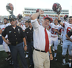 Jacksonville State coach Jack Crowe celebrates at Vaught-Hemingway Stadium in Oxford, Miss. on Saturday, September 4, 2010. Jacksonville State won 49-48 over Mississippi in double overtime. (AP Photo/Oxford Eagle, Bruce Newman)