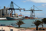 Cargo ship Islas dos in the harbour of Puerto del Rosario, Fuerteventura, Canary Islands, Spain.