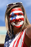10 November 2013: U.S. fan. The United States Women's National Team played the Brazil Women's National Team at the Citrus Bowl in Orlando, Florida in an international friendly soccer match.