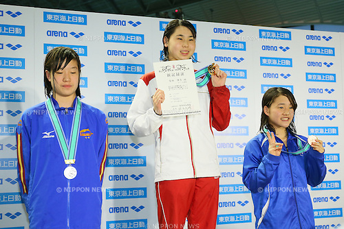 (L to R) <br /> Urara Kobayashi, <br /> Yukino Miyasaka, <br /> Miyuka Nakajima, <br /> MARCH 29, 2015 - Swimming : <br /> The 37th JOC Junior Olympic Cup <br /> Women's 50m Breaststroke <br /> 13-14 years old award ceremony <br /> at Tatsumi International Swimming Pool, Tokyo, Japan. <br /> (Photo by YUTAKA/AFLO SPORT)