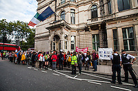 London, 20/08/2014. Today, a demonstration organised by &quot;Abortion Rights East London&quot; was held outside the Irish embassy in London, simultaneously with a pro-choice demonstration held in Dublin. The aim of the protest was (from the organisers' online press release): &lt;&lt;to demonstrate against the Irish government's horrendous treatment of a young woman, pregnant as a consequence of rape, who was suicidal and refused a lawful abortion under the Protection of Life in Pregnancy Act 2014. We think this is barbaric. We're meeting at 6pm outside the Irish Embassy to protest the gross violence and injustice visited upon the unnamed woman, and to call for Ireland to repeal the 8th amendment, which bans abortion&gt;&gt;. <br /> <br /> For more information please click here: http://www.abortionrights.org.uk/