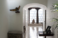 11, 33rd Lane,  Geoffrey Bawa's Colombo home. <br /> Entrance hallway. Owl sculpture by Laki Senanyake.