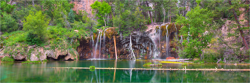 Hanging Lake is the payoff of a short 1.2 mile hike up from I-70. This Hanging Lake image is a merging of several images to create a panorama. I hiked up in the dark, arriving about 45 minutes before sunrise, and enjoyed this iconic Colorado location in peace and solitude.