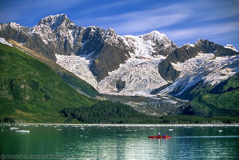 Sea kayakers, Mount Gilbert, Serpentine Glacier, Chugach Mountains, Harriman Fjord, Prince William Sound, Alaska.