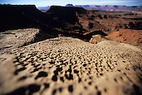 Pock-marked rocks sit on the edge of a deep red canyon in the Maze District of Canyonlands National Park, Utah.