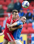 St Johnstone v Aberdeen...23.08.14  SPFL<br /> Andrew Considine and Lee Croft<br /> Picture by Graeme Hart.<br /> Copyright Perthshire Picture Agency<br /> Tel: 01738 623350  Mobile: 07990 594431