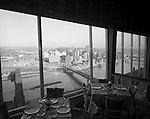 Pittsburgh PA:  View of Pittsburgh from the LaMont Restaurant on Mount Washington - 1962