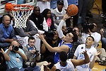 07 March 2015: Duke's Tyus Jones takes a shot. The University of North Carolina Tar Heels played the Duke University Blue Devils in an NCAA Division I Men's basketball game at the Dean E. Smith Center in Chapel Hill, North Carolina. Duke won the game 84-77.