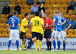St Johnstone v Alashkert FC...09.07.15   UEFA Europa League Qualifier 2nd Leg<br /> Karen Muradyan is shown a second yellow card by ref Fredy Fautrel and is sent off<br /> Picture by Graeme Hart.<br /> Copyright Perthshire Picture Agency<br /> Tel: 01738 623350  Mobile: 07990 594431