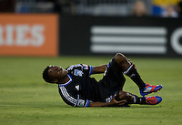 Marvin Chavez of Earthquakes reacts after injuring his foot during the game against Rapids at Buck Shaw Stadium in Santa Clara, California on August 25th, 2012.   San Jose Earthquakes defeated Colorado Rapids, 4-1.