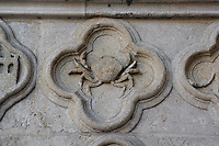Cancer, detail of the signs of the Zodiac, Saint Firmin's portal, Amiens Cathedral, 13th century, Amiens, Somme, Picardie, France. Picture by Manuel Cohen