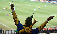 A Brazil supporters cheers during the FIFA World Cup first round match between Ivory Coast and Brazil at Soccer City in Johannesburg, South Africa on Sunday, June 20, 2010.