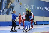 SCHAATSEN: SALT LAKE CITY: Utah Olympic Oval, 13-11-2013, Essent ISU World Cup, training, Peter Mueller (trainer/coach Team CBA), Frank Hermans, Bram Smallenbroek (AUT), ©foto Martin de Jong
