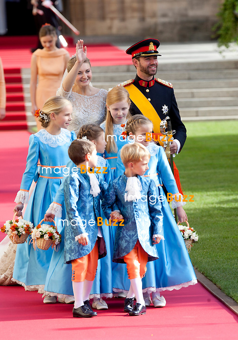 Crown Prince Guillaume of Luxembourg and Countess Stéphanie de Lannoy, Royal Religious wedding,, at the Cathedral of Our Lady of Luxembourg. October 20, 2012.